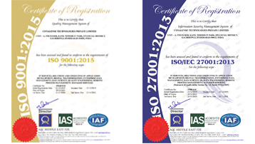 Covalense Global ISO 27001:2013 ISMS Certification & ISO 9001:2015 QMS certification